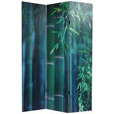 Canvas Room Divider 6 Ft Tall Double Sided Bamboo Tree Canvas Room Divider Screens Com