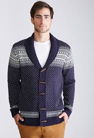 forever 21 fair isle shawl collar cardigan in blue for men lyst