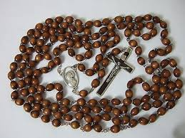 15 decade rosary 15 decade brown wood bead rosary 48 inches 8mm with crucifix