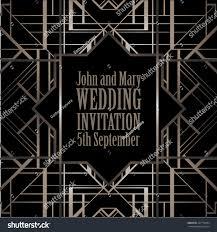 art deco style wedding invitation background stock vector