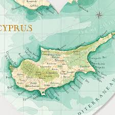 Map Of Cyprus Cyprus Map Heart Print By Bombus Off The Peg Notonthehighstreet Com