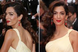 is amal clooney hair one length amal clooney at cannes exact makeup at money monster premiere