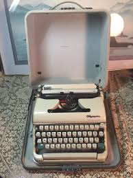 vintage olympia typewriter cursive manual typing w case west