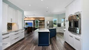 White And Blue Kitchen Cabinets Off White Kitchen With Blue Island Cabinets Omega