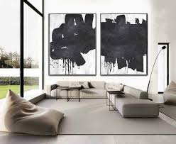 set of 2 huge contemporary art acrylic painting on canvas