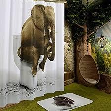 amazon com funny elephant shower curtain wimaha printed fabric