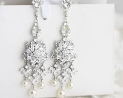 Chandelier Pearl Earrings For Wedding Bridal Earrings Small Wedding Earrings Swarovski Crystal Pearl