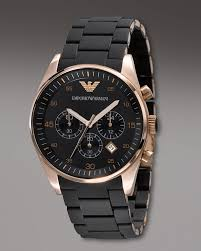 armani watches bracelet images Lyst emporio armani silicon bracelet chronograph watch in black jpeg