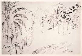 1969 photolithograph henri matisse tropical garden 1916 pencil