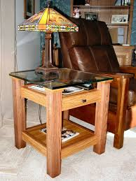 Free Wood Crafts Plans by Oak U0026 Glass Display Top End Table Small Wood Projects Coffee