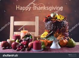 beautiful thanksgiving fall table setting autumn stock photo