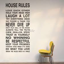 Bedroom Wall Stickers Sayings House Rules Large Wall Lettering Stickers Quotes And Sayings Home