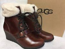s ugg australia emilie boots ugg australia leather wedge lace up boots for ebay