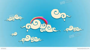 swirly dreamy cartoon clouds with rainbow after effects templates