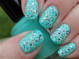 18 aqua nail designs aqua nails my nails aqua color quilted nails