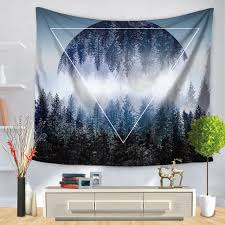 cammitever moon forest mountains woods leaf wall tapestry mandala
