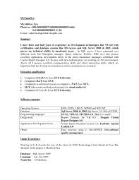 Sample Resume For Dot Net Developer Experience 2 Years Collection Of Solutions Sample Resume Of Net Developer Also Format