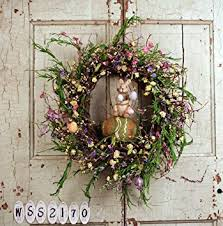 easter wreath 20 mixed flower easter wreath with bunny home kitchen