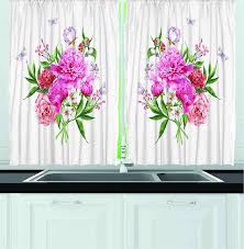 ambesonne kitchen decor collection floral art with wildflowers ambesonne kitchen decor collection floral art with wildflowers butterflies bouquet polkadot window treatments for
