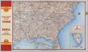 Map Of Usa With Highways by Shell Highway Map Southeastern Section Of The United States