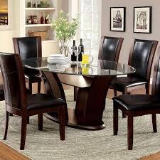 oval glass dining table 247shopathome manhattan dark cherry finish oval glass top 5 piece