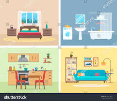 apartment inside detailed modern house interior stock vector