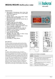 iskra mc 640 multifunction meter datasheet manual