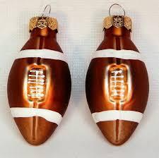 2 mini football ornaments blown glass