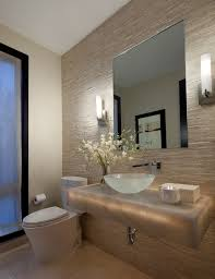 Luxury Powder Room Vanities Powder Rooms Powder Room Contemporary With Bowl Sink Beige Wall Tile