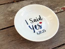 engagement ring dish i said yes ring dish with date custom engagement ring holder