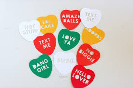 heart candy sayings conversation heart cut outs plus a pink rotary phone eek