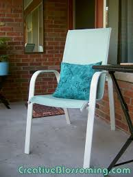 Seafoam Green Chair by Painted Patio Chair She Used Latex Indoor Paint On Mesh Summer