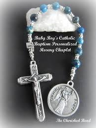 catholic baptism gifts catholic baby boy s baptism blue gemstone personalized chaplet