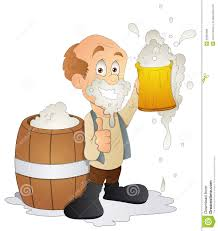 beer cartoon man having beer cartoon character vector illustration stock