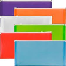 amazon com jam paper 10 plastic wallet envelopes with zipper