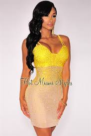 miami styles yellow iridescent stones padded mini dress
