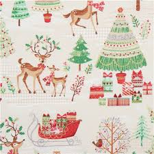 beige fabric with reindeer tree gold metallic