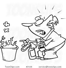 cartoon black and white line drawing of a business man putting out