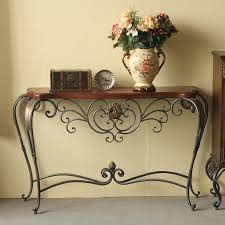 Wrought Iron Console Table Wood And Wrought Iron Console Table Thedigitalhandshake