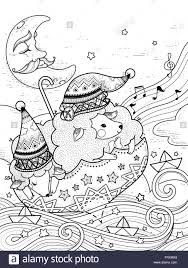 magic sheep float starry night coloring stock