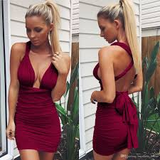 hot new years dresses 2017 hot sale burgundy v neck sleeveless bandage dress
