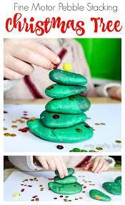 fine motor pebble stacking christmas tree arty crafty kids