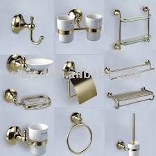 bathroom accessories set gold palted chrome plated brass bathroom