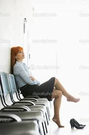 Legs On Desk Businesswoman Sitting With Legs Crossed At Ankle On Desk Stock