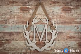 antler monogram wreath with burlap hanger barns blooms barns