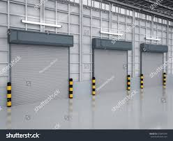 Interior Shutter Doors 3d Rendering Warehouse Interior Shutter Doors Stock Illustration