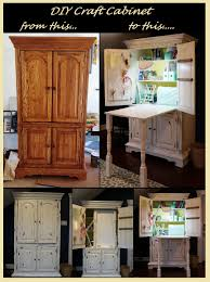Diy Craft Desk With Storage by Diy Craft Cabinet From A 175 Used Tv Armoire Diy Paint Antiquing