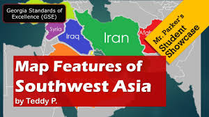 Physical Map Of Southwest Asia by Map Features Of Southwest Asia Gse Youtube