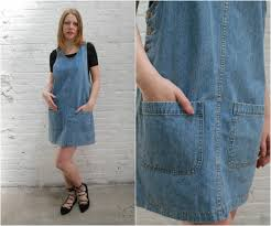 90s denim jumper dress overall denim dress mini chambray