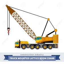 truck mounted lattice boom side view mobile crane isolated vector